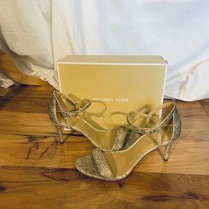 Micheal Kors Simone embossed snake print sandals